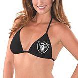 Women's G-III 4Her by Carl Banks Black Oakland Raiders Breaking Waves Bikini Top