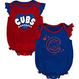 Girls Newborn & Infant Royal/Red Chicago Cubs Double Trouble Two-Pack Bodysuit Set
