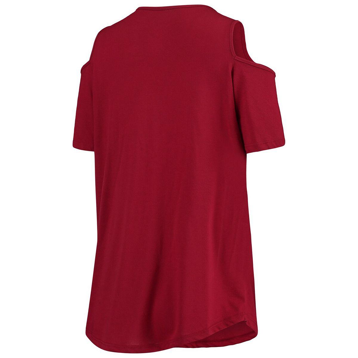 Women's Crimson Oklahoma Sooners Plus Size Cold Shoulder T-Shirt weRKT