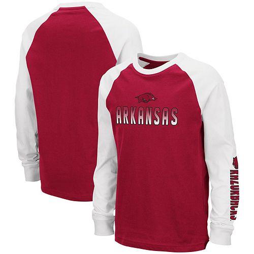 newest 62ea9 b212a Youth Colosseum Cardinal Arkansas Razorbacks Beanie Raglan Long Sleeve  T-Shirt