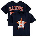 Toddler Majestic Jose Altuve Navy Houston Astros Player Cap Logo Name & Number T-Shirt