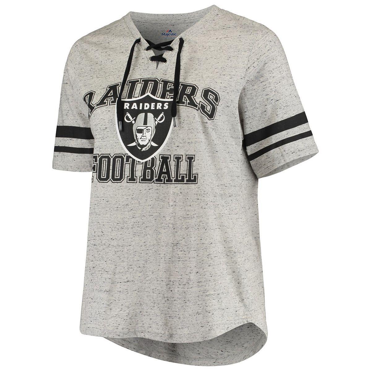 Women's Majestic Heathered Gray Oakland Raiders Plus Size Sleeve Stripe Lace-Up V-Neck T-Shirt txDos