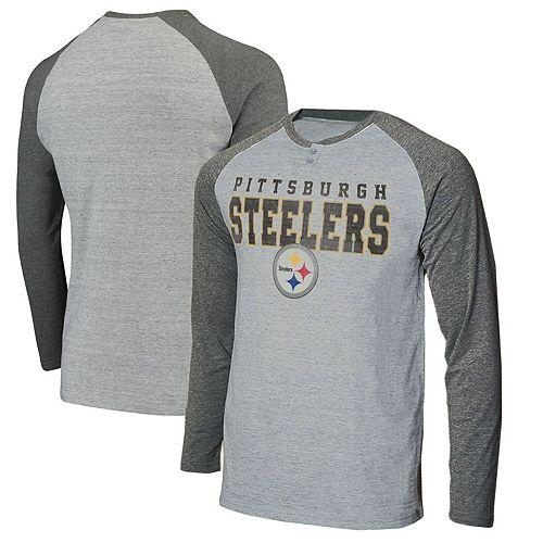 best service d0b28 0c21d Men's Concepts Sport Heathered Gray/Heathered Charcoal Pittsburgh Steelers  Hillstone Henley Raglan Long Sleeve T-Shirt