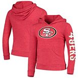 Girls Youth New Era Heathered Scarlet San Francisco 49ers Tri-Blend Pullover Hoodie