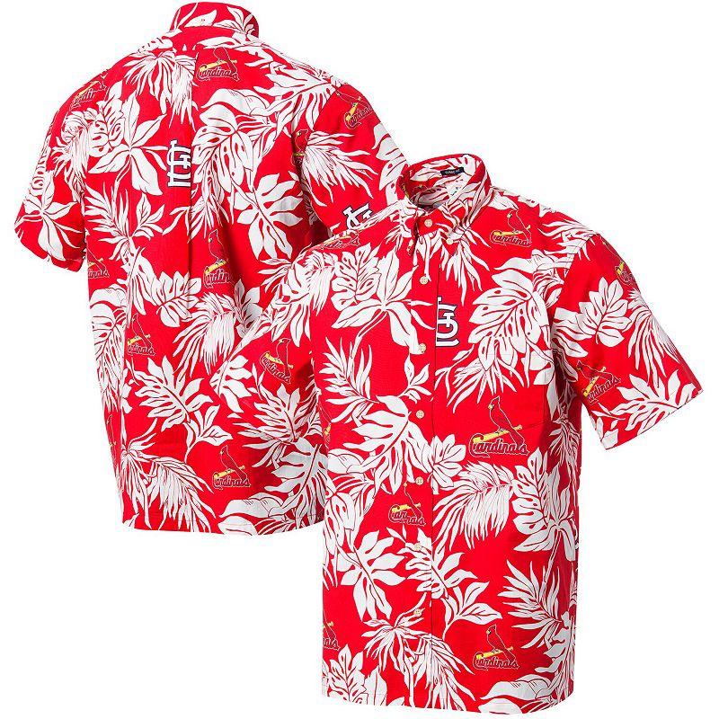 Men's Reyn Spooner Red St. Louis Cardinals Aloha Button-Up Shirt. Size: Medium