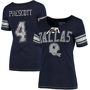 best loved 79b01 88464 Women's Dak Prescott Navy Dallas Cowboys Shimmer Away Name & Number T-Shirt
