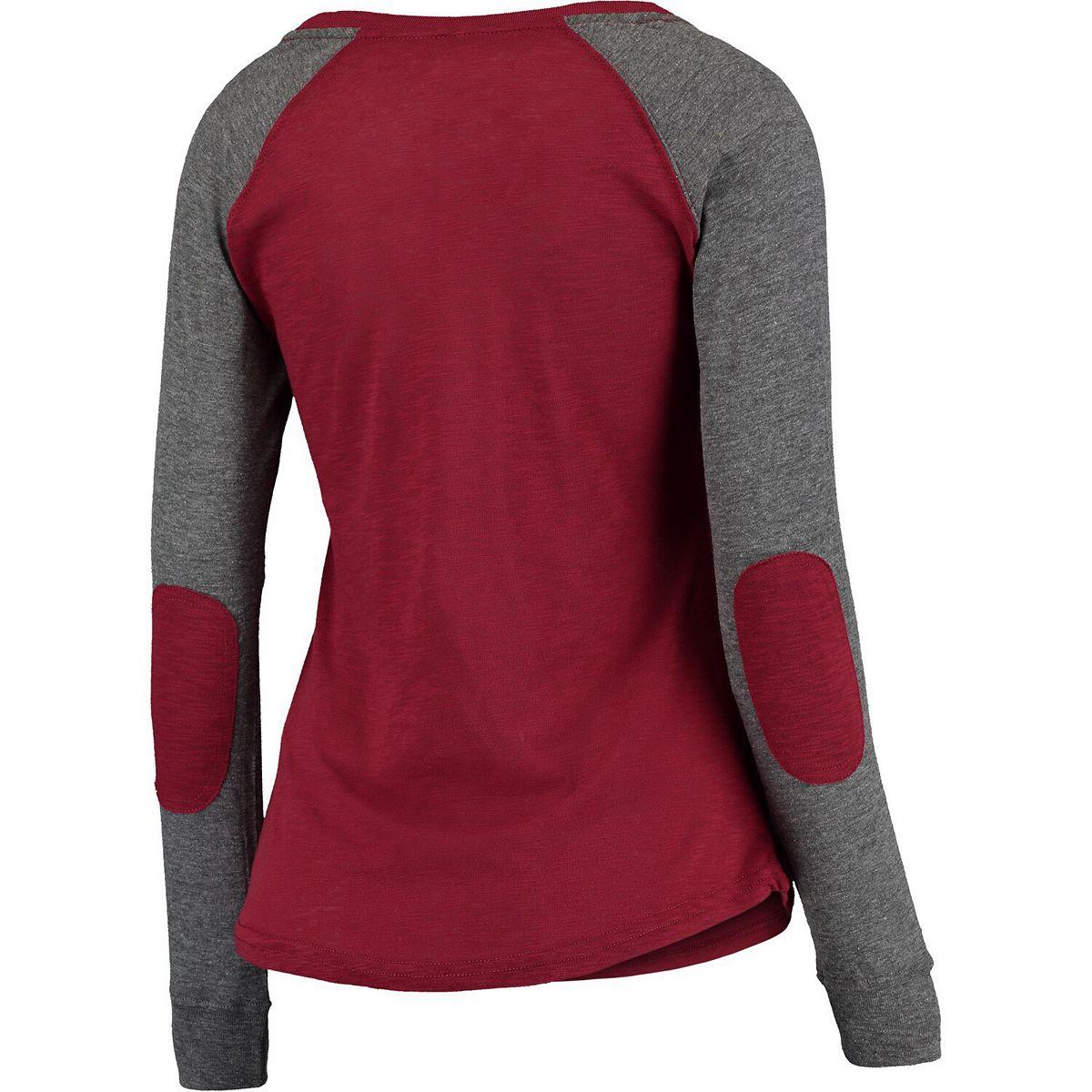 Women's Garnet/Gray Washington State Cougars Preppy Elbow Patch Slub Long Sleeve T-Shirt NMQWa