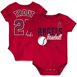 Newborn & Infant Majestic Mike Trout Red Los Angeles Angels Baby Slugger Name & Number Bodysuit