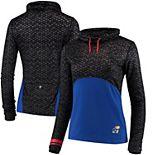 Women's Colosseum Black Kansas Jayhawks Scaled Cowl Neck Pullover Sweatshirt