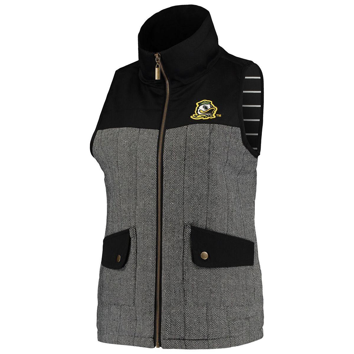 Women's Black Oregon Ducks Prep For It Herringbone Knit Full-Zip Vest 6Fizl