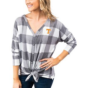 Women's Gray/White Tennessee Volunteers Check Your Facts Plaid Button-Up Long Sleeve Shirt