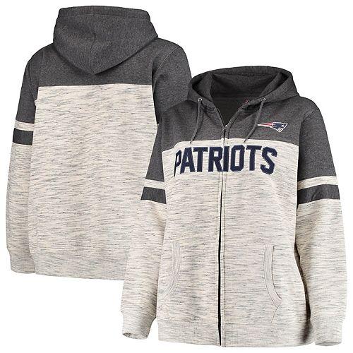 premium selection 19b7e 01279 Women's Majestic Heathered Black New England Patriots Plus Size Full-Zip  Varsity Pop Hoodie