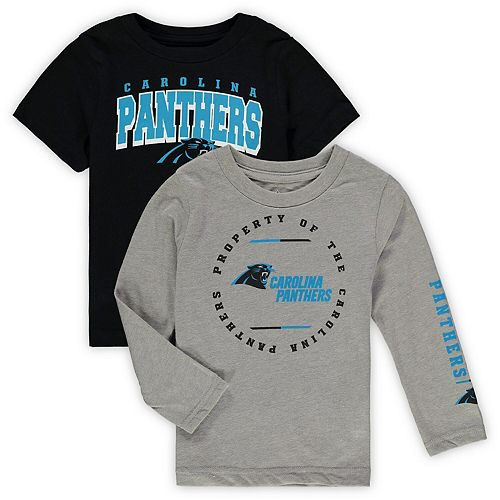 cheap for discount c2d27 dc40f Toddler Black/Heathered Gray Carolina Panthers Club Short Sleeve & Long  Sleeve T-Shirt Combo Pack