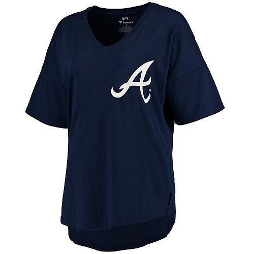 Women's Navy Atlanta Braves Oversized Spirit Jersey V-Neck T-Shirt