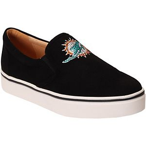 Women's Cuce Black Miami Dolphins Suede Slip On Shoe