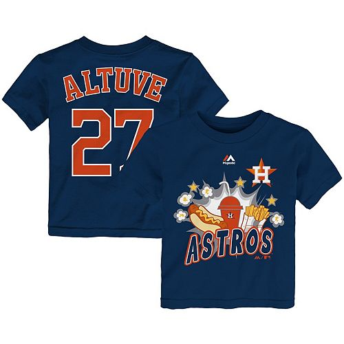 huge selection of 60d62 2b321 Toddler Majestic Jose Altuve Navy Houston Astros Snack Attack Name & Number  T-Shirt