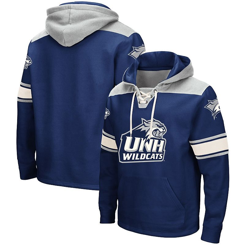 Men's Colosseum Navy New Hampshire Wildcats 2.0 Lace-Up Hoodie. Size: 2XL. Blue