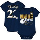 Newborn & Infant Majestic Christian Yelich Navy Milwaukee Brewers Baby Slugger Name & Number Bodysuit