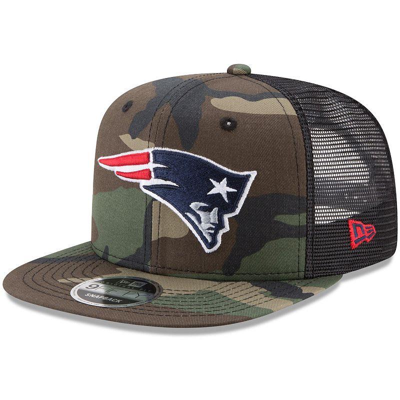 Men's New Era Woodland Camo/Black New England Patriots Trucker 9FIFTY Snapback Adjustable Hat. Green