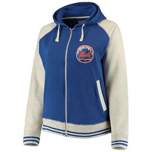Women's Soft as a Grape Royal/Cream New York Mets Plus Size Varsity Raglan Full-Zip Hoodie