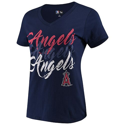 Women's G-III 4Her by Carl Banks Navy Los Angeles Angels Game On V-Neck T-Shirt