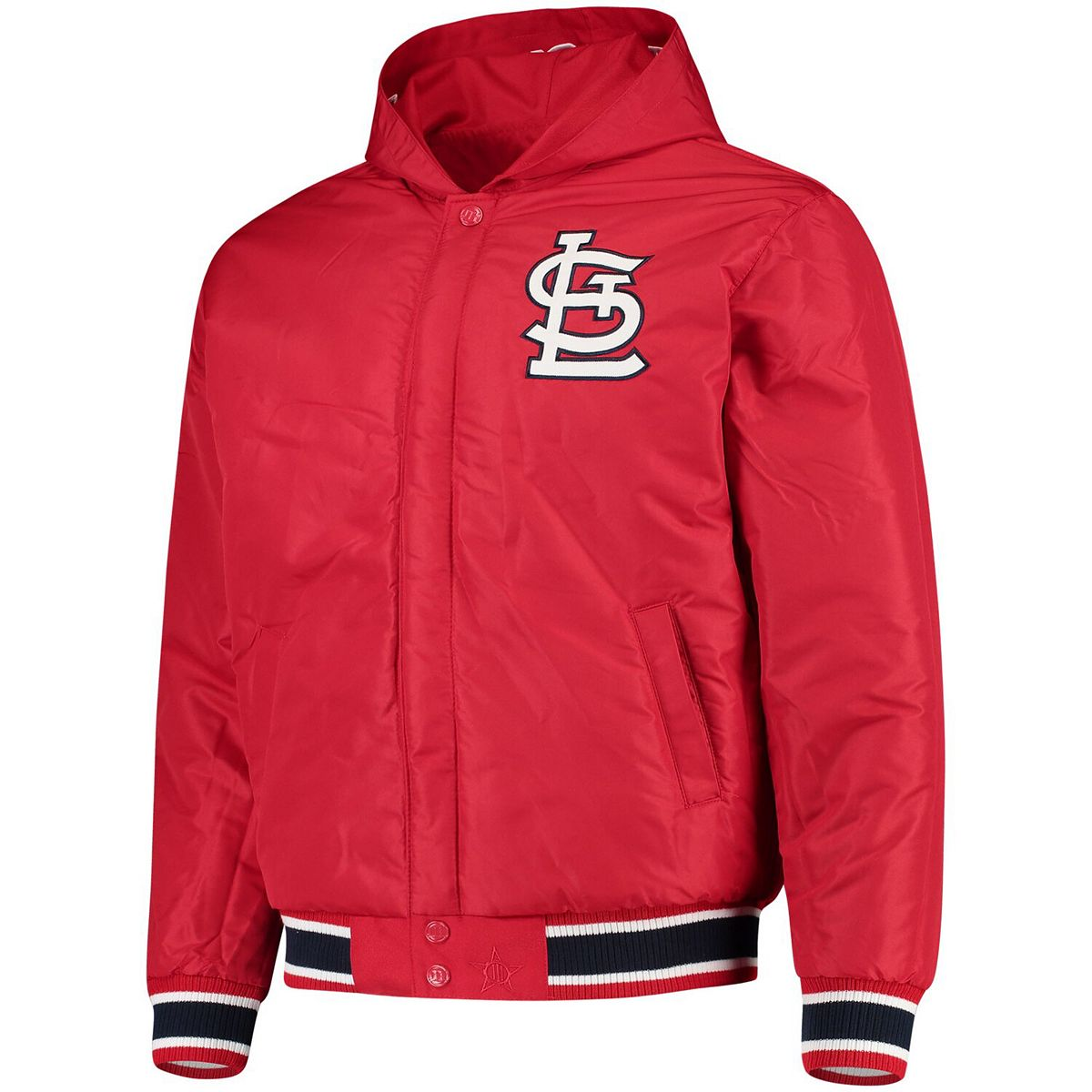 Men's JH Design Red St. Louis Cardinals Reversible Poly-Twill Hooded Jacket 9nElY
