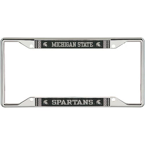 Michigan State Spartans Jersey Small Over Small Metal Acrylic Cut License Plate Frame