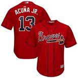 Men's Majestic Ronald Acuña Jr. Scarlet Atlanta Braves 2019 Alternate Official Cool Base Player Jersey