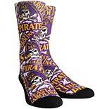 Women's Purple ECU Pirates Logo Sketch Crew Socks