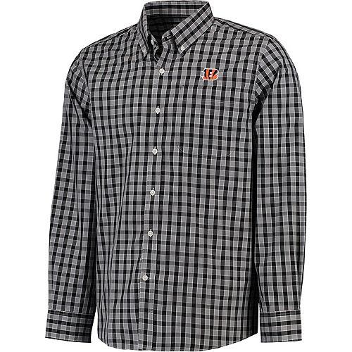 Men's Cutter & Buck Black Cincinnati Bengals Discovery Park Plaid Long Sleeve Woven Shirt