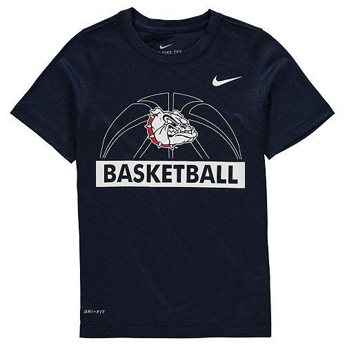 Youth Nike Navy Gonzaga Bulldogs Basketball Logo Performance T-Shirt