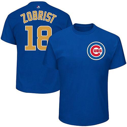 Men's Majestic Ben Zobrist Royal Chicago Cubs 2017 Gold Program Name & Number T-Shirt