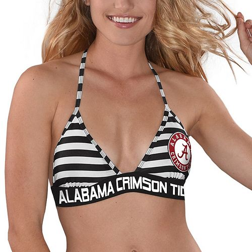 Women's G-III 4Her by Carl Banks Black/White Alabama Crimson Tide Strike Out Striped Bikini Top