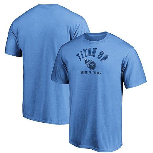 Men's Majestic Light Blue Tennessee Titans Iconic Hometown Arc Logo T-Shirt