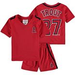 Preschool & Toddler Majestic Mike Trout Red Los Angeles Angels Ballpark Champ Name & Number V-Neck T-Shirt & Shorts Set
