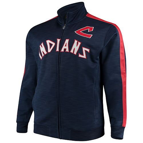 Men's Navy/Red Cleveland Indians Big & Tall Streak Fleece Cooperstown Full Zip Jacket