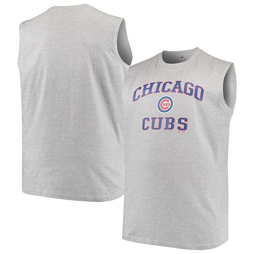 Men's Majestic Heathered Gray Chicago Cubs Big & Tall Primary Logo Muscle Tank Top