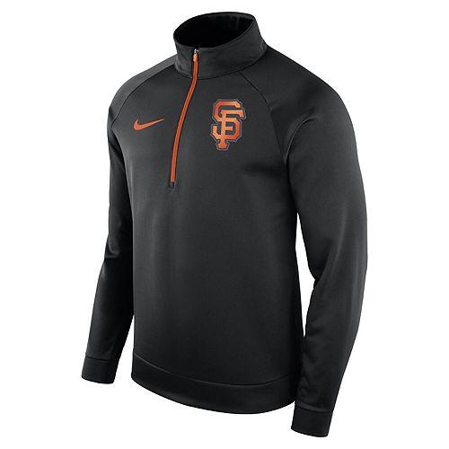 Men's Nike Black San Francisco Giants Therma Top Bench Half-Zip Pullover Jacket