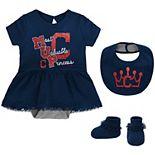 Girls Newborn & Infant Navy Cleveland Indians Diamond Bodysuit, Bib & Booties Set