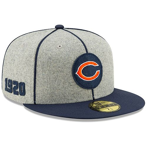 Men's New Era Heather Gray/Navy Chicago Bears 2019 NFL Sideline Home Official Logo 59FIFTY 1920s Fitted Hat