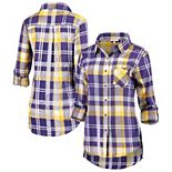 Women's Purple LSU Tigers Missy Boyfriend Plaid Flannel Button-Up Long Sleeve Shirt