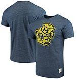 Men's Original Retro Brand Navy Michigan Wolverines School Logo Mock Twist T-Shirt