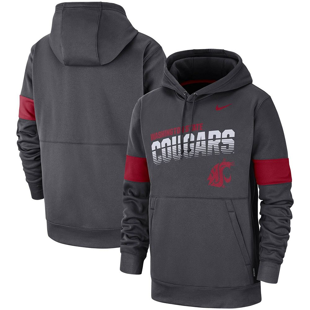 Men's Nike Anthracite Washington State Cougars 2019 Sideline Therma-FIT Perfromance Hoodie