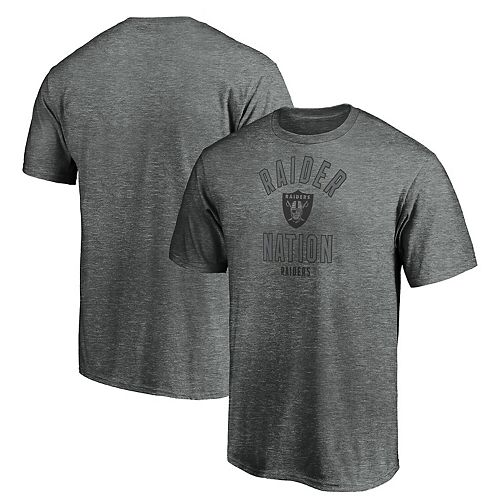 Men's Majestic Gray Oakland Raiders Iconic Hometown Arc Logo T-Shirt