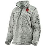 Women's Gray Louisville Cardinals Sherpa Super Soft Quarter Zip Pullover Jacket