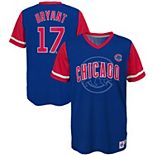 Youth Majestic Kris Bryant Royal/Red Chicago Cubs Play Hard Player V-Neck Jersey T-Shirt