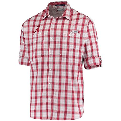 Men's Columbia Crimson Alabama Crimson Tide Super Tamiami Long Sleeve Button-Down Omni-Shade Shirt