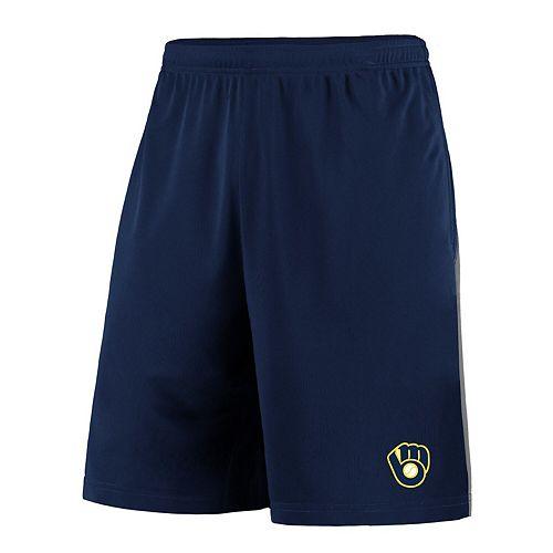 Men's Fanatics Branded Navy/Gray Milwaukee Brewers Crossbar Shorts
