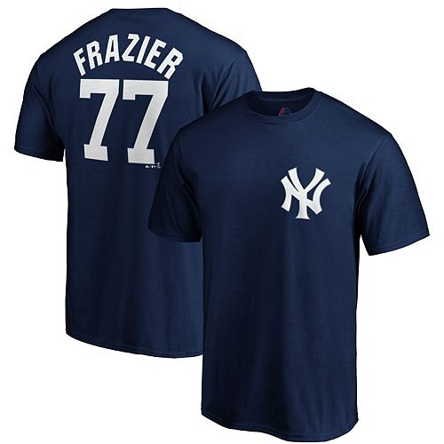 Men's Majestic Clint Frazier Navy New York Yankees Official Name & Number Player T-Shirt