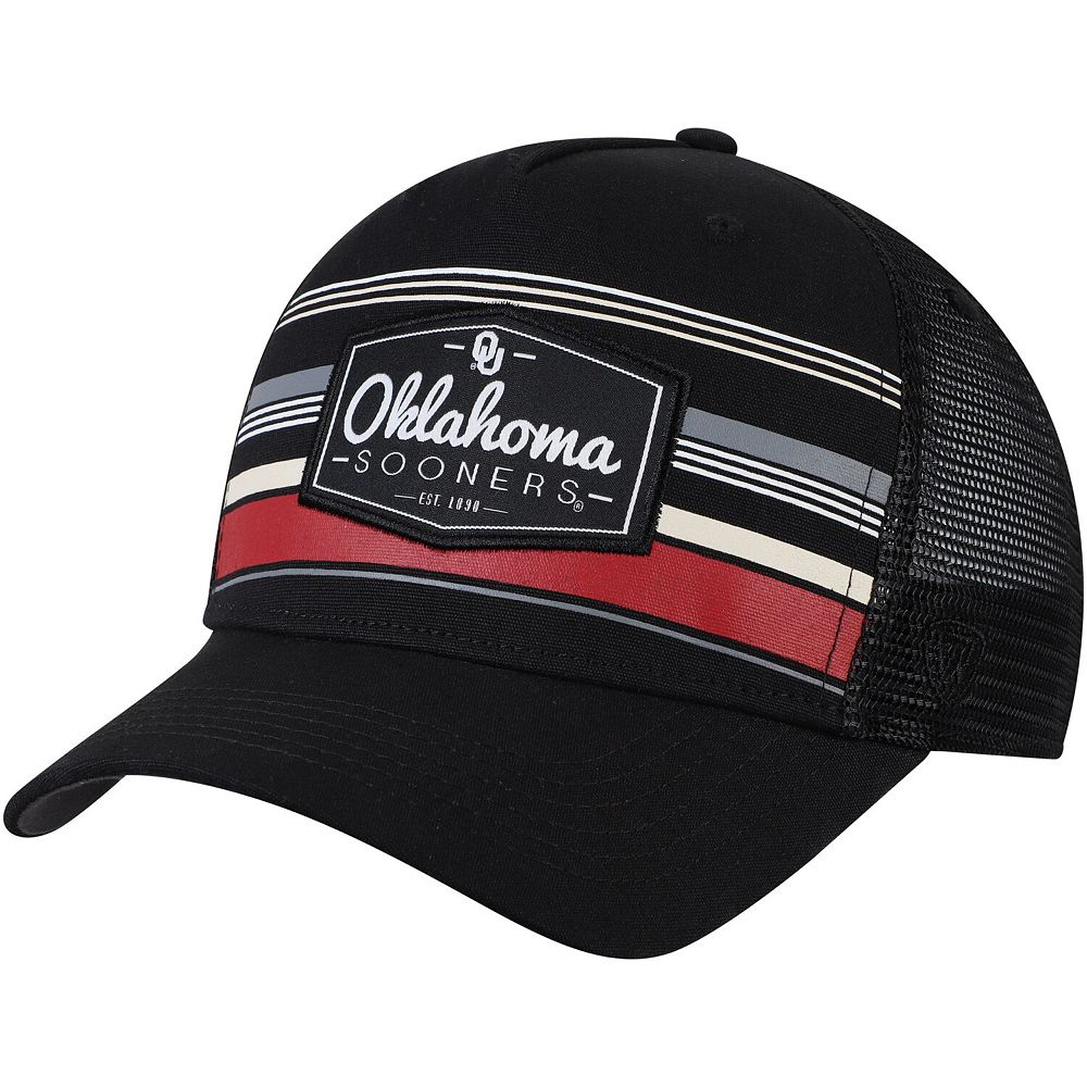 Men's Top of the World Black Oklahoma Sooners Route Trucker Adjustable Snapback Hat